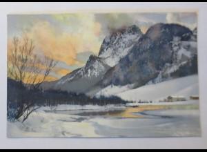 Photochromie, Winterlandschaft, Berge, Abendrot, See, 1910 ♥ (65380)