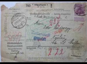 D.Reich, Auslands-Paketkarte 1920 (WMF) mit 11 Werte frankiert (19710)