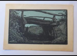Scherenschnitt, Landschaft, Brücke, Bach, 1910, Erich Matthes ♥ (40107)