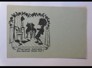 Scherenschnitt, Mensch heirate Du lachst Dich tot, 1930 ♥ (68232)