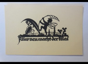 Scherenschnitt, Alles neu macht der Mai, Maikäfer, Elfe, 1930 ♥ (69378)