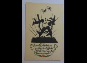 Scherenschnitt, Dem Fröhlichen gehört die Welt, Kinder, 1929, Plischke ♥ (17922)