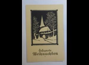 Scherenschnitt, Weihnachten, Kirche, 1929, Karlheiz Dosky ♥ (53411)