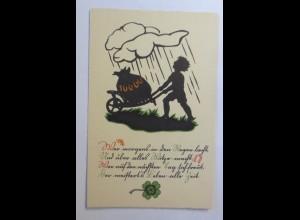 Scherenschnitt, Glück, Regen, Schubkarre, Münzen, 1930 ♥ (57402)