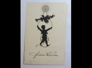 Scherenschnitt, Weihnachten, Kinder, Kerze, 1930 ♥ (56089)