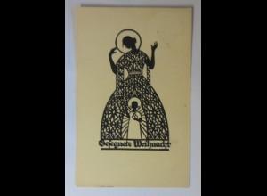 Scherenschnitt, Weihnachten, Frauen, Engel, 1934, A.M. Schwindt ♥ (9717)