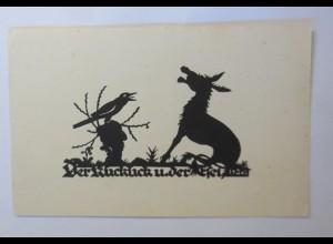 Scherenschnitt, Der Kuckuck und der Esel, 1930 ♥ (50393)