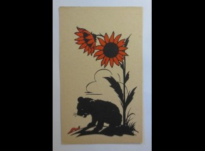 Scherenschnitt, Löwe, Sonnenblumen, 1930 ♥ (53484)