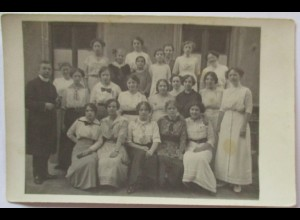 Junge Frauen, Priester, Schule, Klasse, Fotokarte Charlottenburg 1924 (72916)