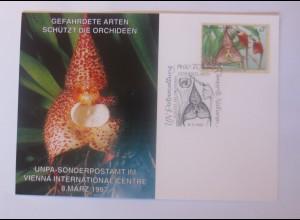 UNO Wien Gefährdeten Arten Orchideen 1997 Maximumkarte ♥ (30038)