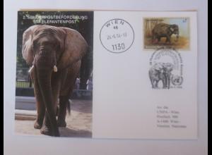 UNO Wien Sonderpostbeförderung mit Elefantenpost 1994 Maximumkarte ♥ (68789)
