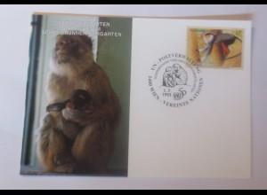 UNO Wien Gefährdeten Arten Affen 1995 Maximumkarte ♥ (41169)