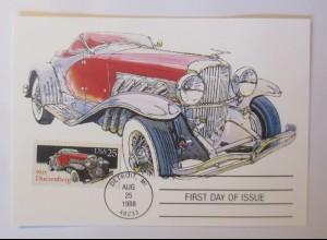 Duesenberg, Oldtimer First Day of Issue 1988 USA Maximumkarte ♥ (58001)