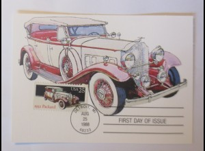 Packard, Oldtimer First Day of Issue 1988 USA Maximumkarte ♥ (3696)