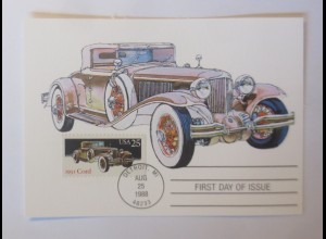 Cord, Oldtimer First Day of Issue 1988 USA Maximumkarte ♥ (37724)