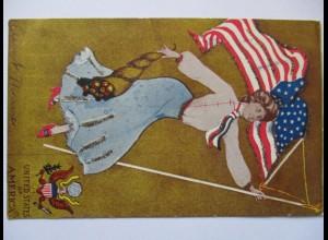 USA, Frau mit Fahne, Glitzerkarte 1906 aus Sergeatsville