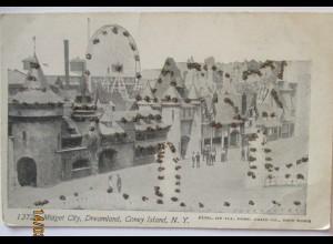 USA Coney Island New York Liliputaner Midget City, Glitzersteine ca.1900 (37011)