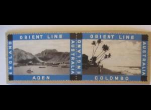 Schiffe Orient Line England-Australien 2 Marken auf Briefstück (68092)