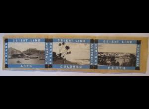 Schiffe Orient Line England-Australien 3 Marken auf Briefstück (71943)
