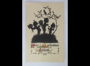 Scherenschnitt, Engel, Wir wünschen Glück, 1930, Werner Kloß ♥ (3544)