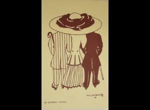 """""""Künstlerkarten, Mode, Hutmode""""1908, Mertzanoff, Chapeau Familie♥ (12003)"""