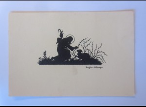 Scherenschnitt, Jesus, Lamm, 1930, Josefine Allmayer ♥ (55392)