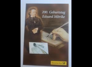 Sonderblatt 200. Jahre Geburtstag Eduard Mörike 2004 ♥