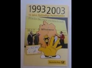 Sonderblatt 10 Jahre fünfstellige Postleitzahlen 1993 ♥