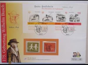Wilhelm Busch Hans Huckebein, großer Sonderbrief 2007 mit 2 xx Sondermarken ♥