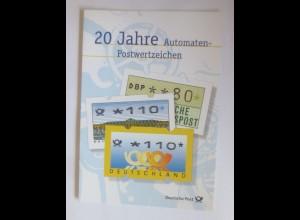 Sonderblatt 20 Jahre Automaten-Postwertzeichen 1999 ♥ (ABC)