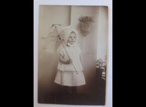 Sachsen Dresden Wohlhabende Familie Kind mit Schirm, Foto ca.1900 ♥ (34133)