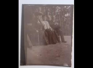 Sachsen Dresden Wohlhabende Familie auf den Bank, Foto ca.1900 ♥ (46967)