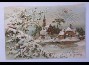 """""""Neujahr, Kirche, Winterdorf, Sonne, Sonnenschein"""" 1903, Golddruck ♥"""