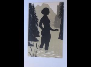 Künstlerkarte, Scherenschnitt, Frauen, Wasserjungfer, 1910 ♥ (7026)