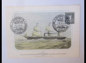 Sonderkarte 100 Jahre Hapag Dampfer Hamburg Schrauben Dampfschiff 1956 ♥(61217)