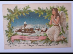 Weihnachten, Engel, Winterdorf, Tannenzweige, 1903 ♥
