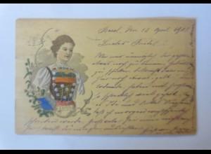 Künstlerkarte, Holzkarte, Frauen, Trachten, Zürich, 1903 ♥ (42694)