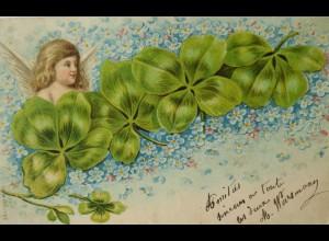 Neujahr, Engel, Kleeblatt, 1904 ♥ (14872)