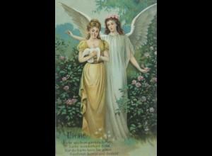 Valentinstag, Engel, Tauben, Liebe, 1906, Prägekarte ♥ (20303)