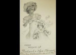 """""""Neujahr, Frauen, Kinder, Schwein"""" 1907, Theo Stroefer, R. Kratky ♥ (14515)"""