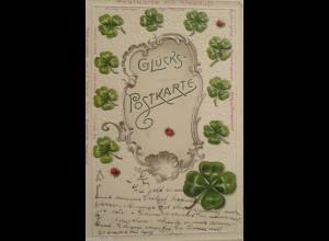 """""""Glückspostkarte, Kleeblatt, Marienkäfer, Kleeduft"""" 1901, Prägekarte ♥"""