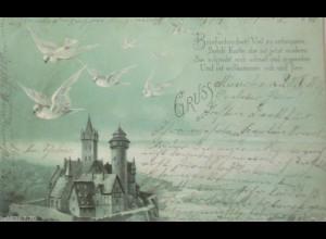 """""""Gruss aus, Tauben, Burg"""" 1899, aus München ♥"""
