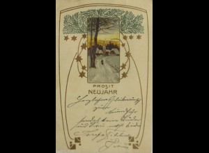 Neujahr, Jugendstil, Kirche, 1910, Prägekarte ♥ (11038)