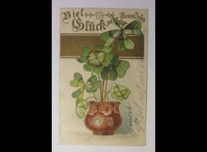 Neujahr, Kleeblatt, 1903, Golddruck ♥ (44068)