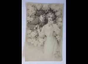Männer, Frauen, Mode, Rosen, 1907, Prägekarte ♥ (45382)