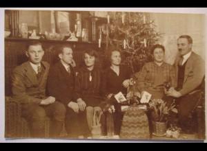 Weihnachten, Weihnachtsbaum, Frauen, Männer, Mode, Fotokarte, 1930 ♥ (53549)