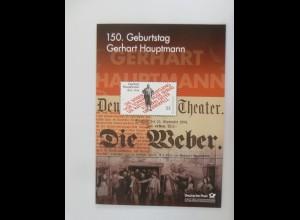 Sonderblatt 150 Geburtstag Gerhart Hauptmann 2013 ♥