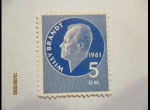 Politik SPD postfrische 5 DM Willy Brandt Spendenmarke 1961 (35284)