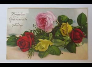 Geburtstag, Blumen, Rosen, 1920, Photochromie ♥ (26707)