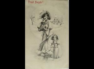 """""""Neujahr, Frauen, Kinder, Wagen, Schwein, Muff"""" 1906 ♥ (14234)"""